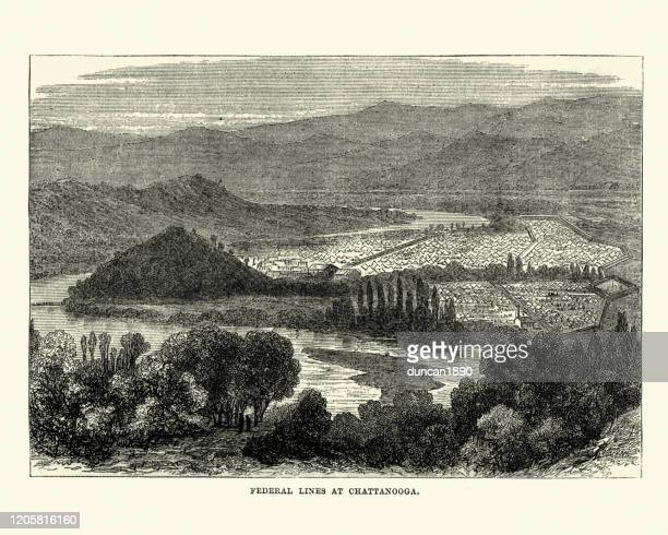 federal lines at chattanooga, tennessee, american civil war - us military stock illustrations