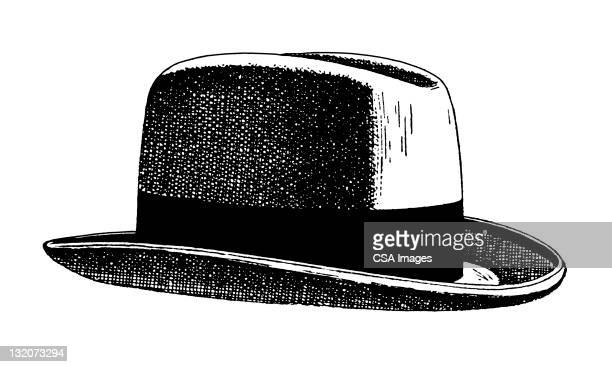 fedora hat - engravement stock illustrations