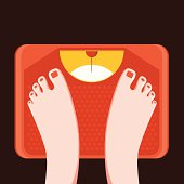 Feet on bathroom weight scale