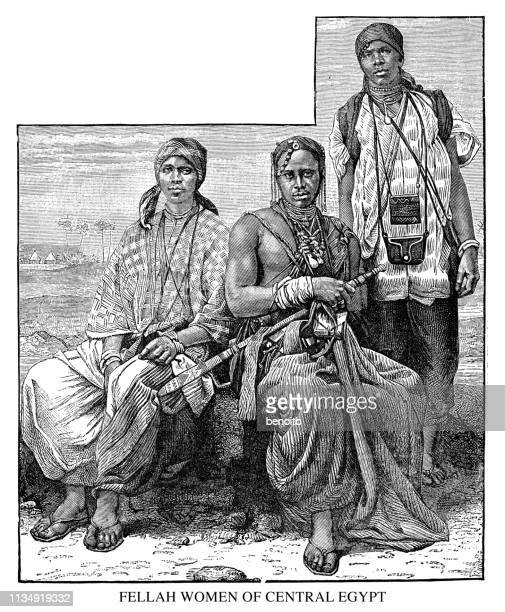 fellah women of central egypt - north african ethnicity stock illustrations, clip art, cartoons, & icons