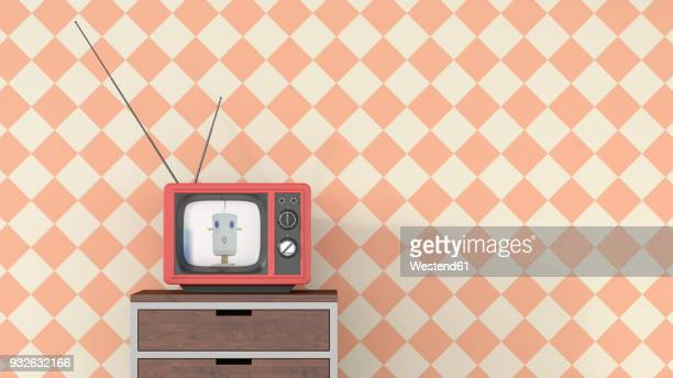 female anchorwoman on chest of drawers in retro tv, 3d rendering - automated stock illustrations