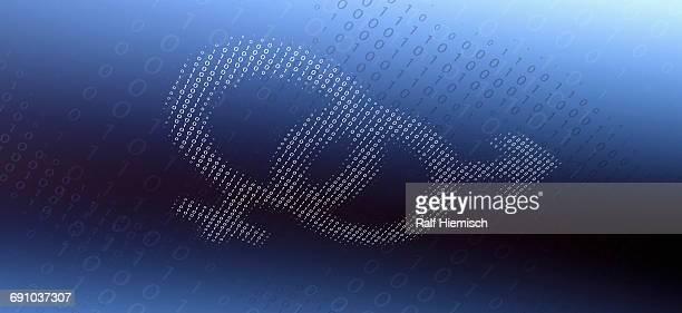 ilustraciones, imágenes clip art, dibujos animados e iconos de stock de female and male gender symbols made of binary numbers over blue background - símbolo de género