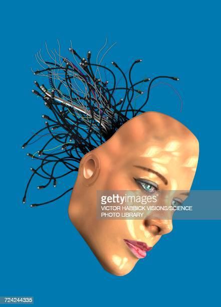 female androids head, illustration - female likeness stock illustrations, clip art, cartoons, & icons