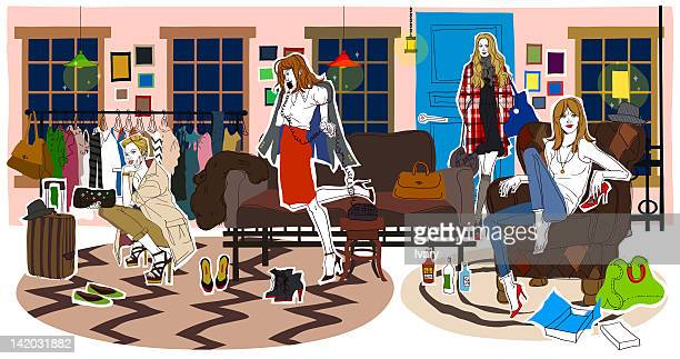 female at shopping centre - standing on one leg stock illustrations, clip art, cartoons, & icons