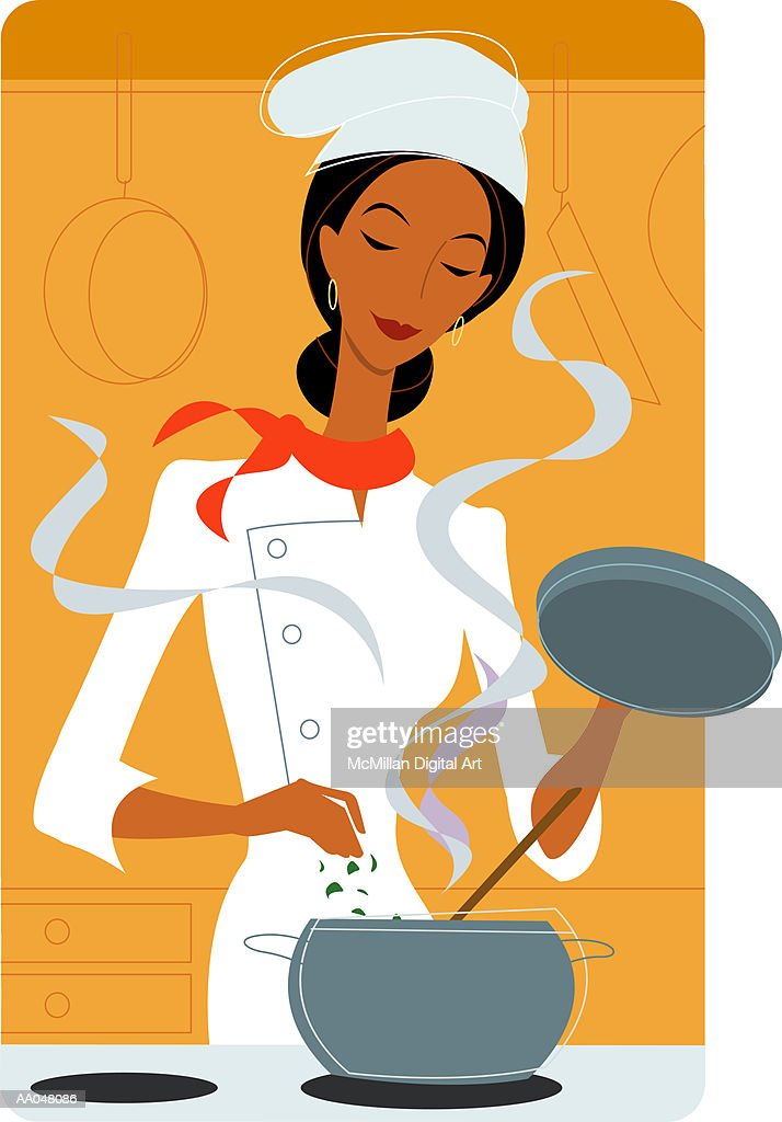 Female chef cooking in kitchen : stock illustration