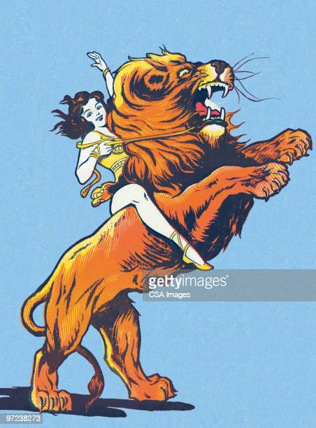 female circus performer riding a lion - 20th century stock illustrations