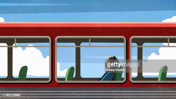 female commuter relaxing, listening to music with headphones on bus - journey stock illustrations