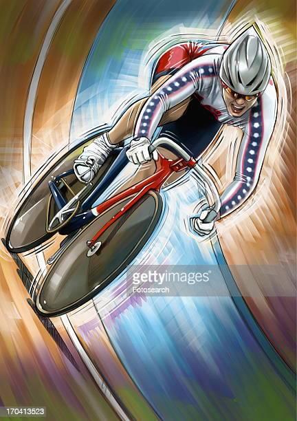 Female cyclist racing
