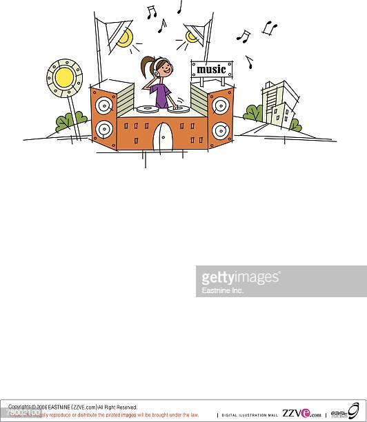 female disc jockey operating a sound mixer - music style stock illustrations, clip art, cartoons, & icons
