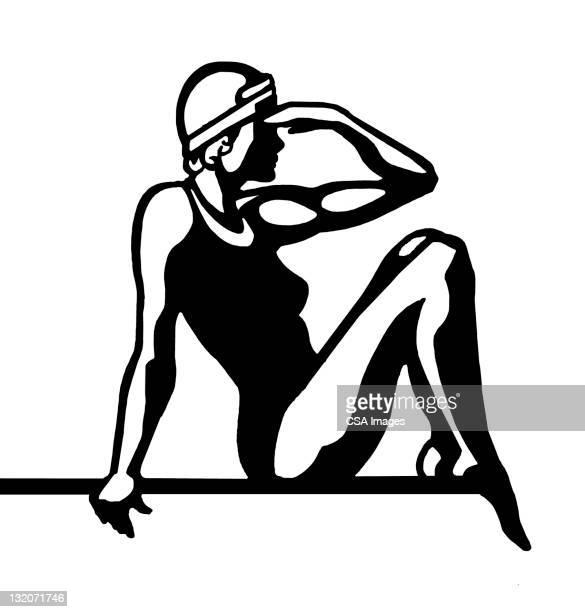 female diver sitting - swimwear stock illustrations, clip art, cartoons, & icons