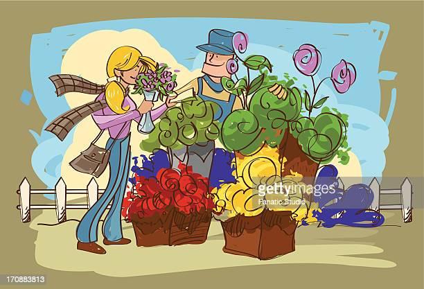 ilustraciones, imágenes clip art, dibujos animados e iconos de stock de female florist giving a bouquet of flowers to a customer - puesto de mercado