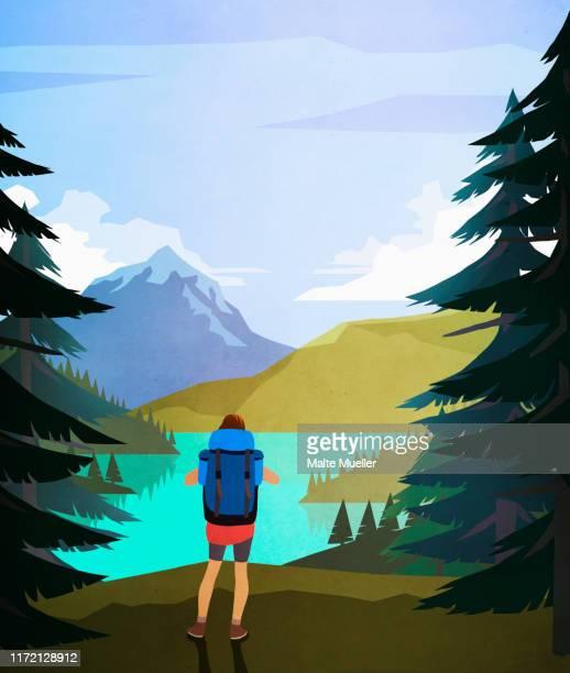 female hiker enjoying scenic lake and mountain view - silence stock illustrations