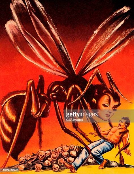 female hornet and man - wasp stock illustrations, clip art, cartoons, & icons