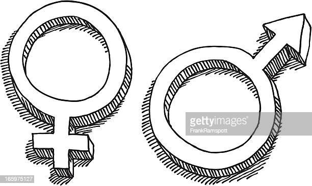 female male gender symbol drawing - heterosexual couple stock illustrations, clip art, cartoons, & icons