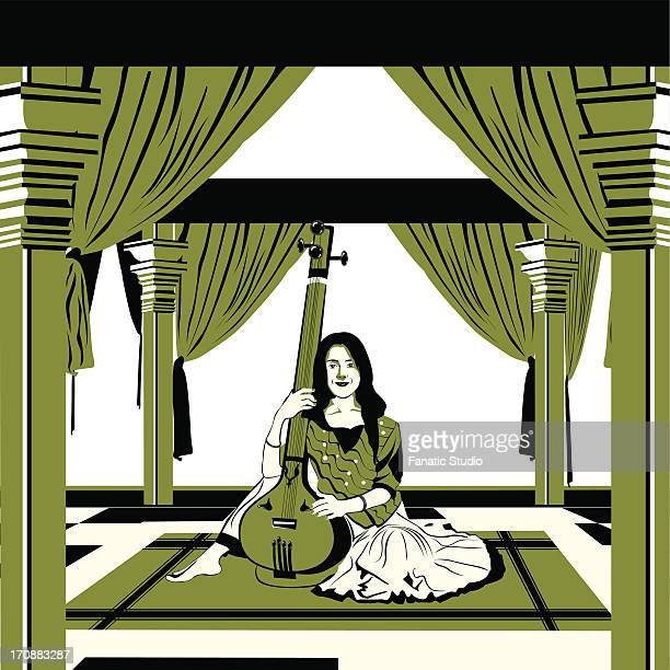 illustrations, cliparts, dessins animés et icônes de female musician playing a sitar - ski humour