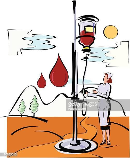ilustraciones, imágenes clip art, dibujos animados e iconos de stock de female nurse holding i.v. stand - asistente de enfermera