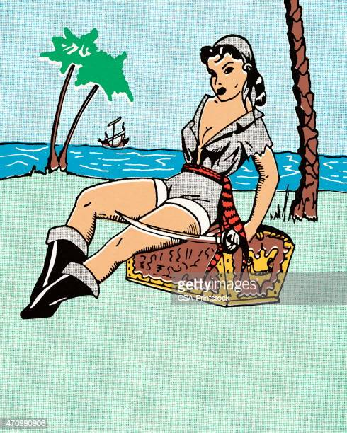 female pirate sitting on treasure chest - chest torso stock illustrations, clip art, cartoons, & icons