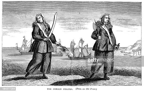 female pirates - pirate criminal stock illustrations