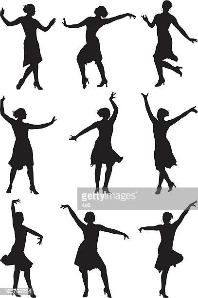 female professional dancer dancing gracefully - samba stock illustrations