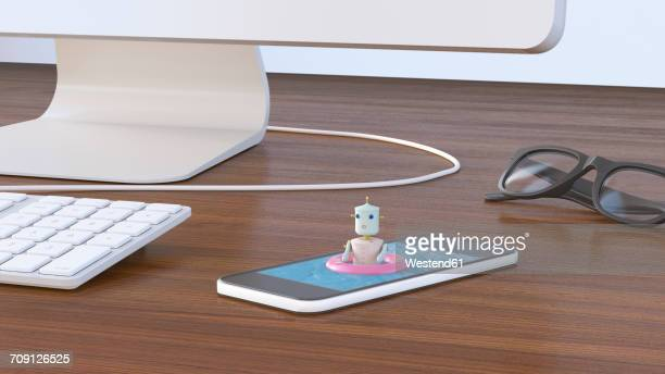 Female robot bathing in cell phone, 3D rendering