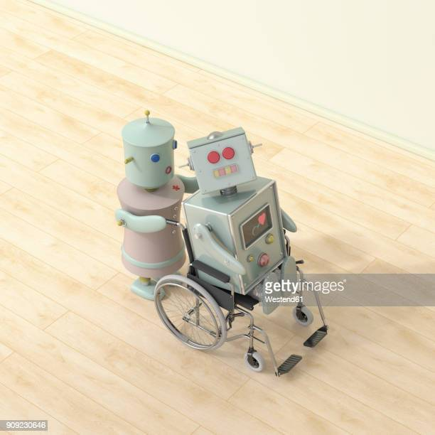 female robot pushing male robot sitting in wheelchair, 3d rendering - floorboard stock illustrations, clip art, cartoons, & icons