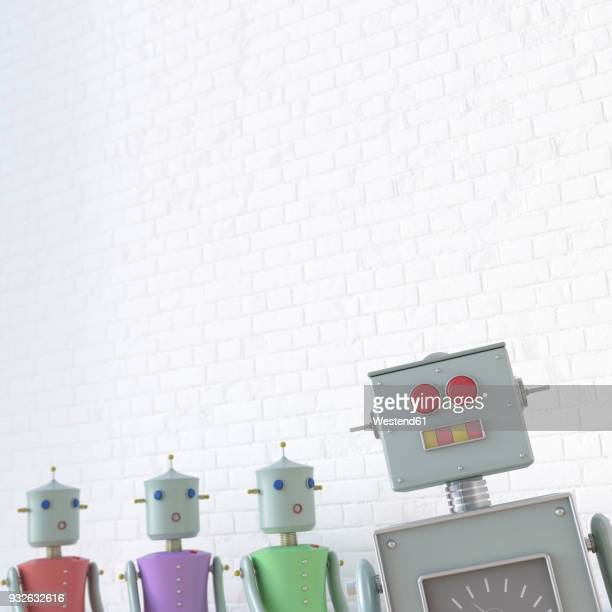 female robots looking at male robot, 3d rendering - battle of the sexes concept stock illustrations