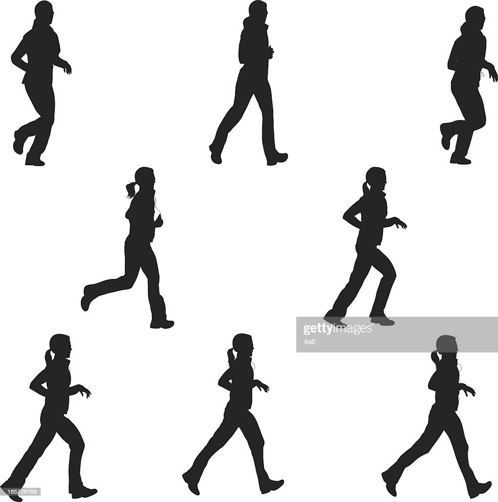 Female runners in action : stock illustration