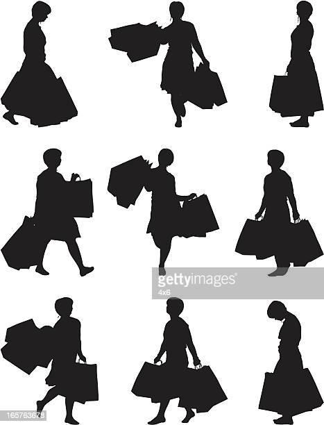 female shopper walking with shopping bags - spending money stock illustrations, clip art, cartoons, & icons