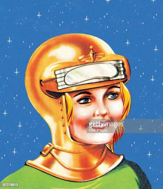 female space explorer - work helmet stock illustrations