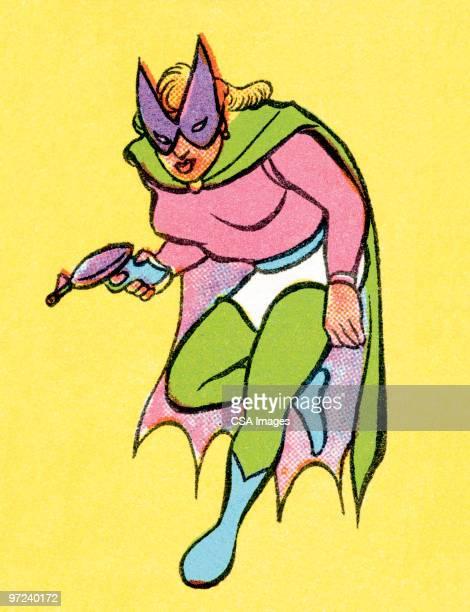 female superhero - heroes stock illustrations