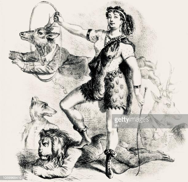 female tamer of men - cabaret stock illustrations
