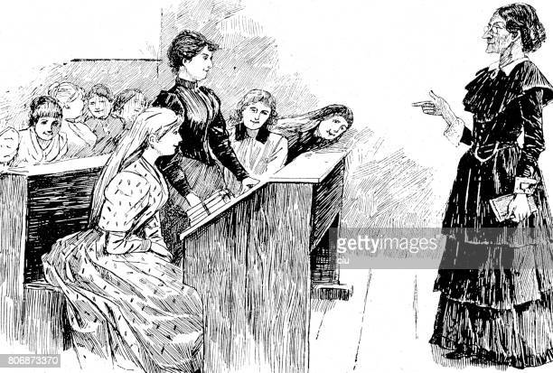 Female teacher lecturing in girls class, side view, horizontal