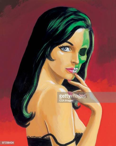 femme fatale zombie - zombie stock illustrations, clip art, cartoons, & icons