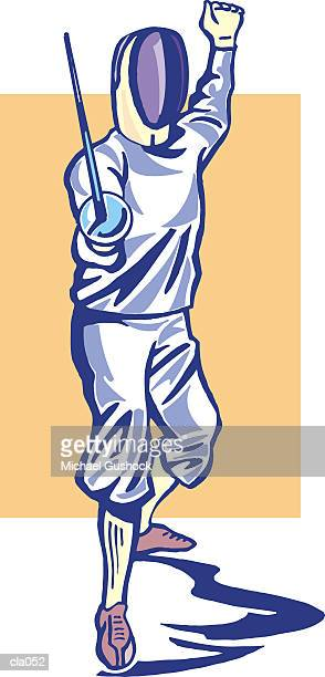 fencer - obscured face stock illustrations, clip art, cartoons, & icons