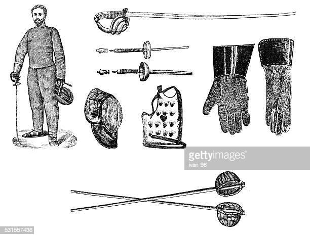 ilustrações de stock, clip art, desenhos animados e ícones de equipamento de esgrima - luta de espadas