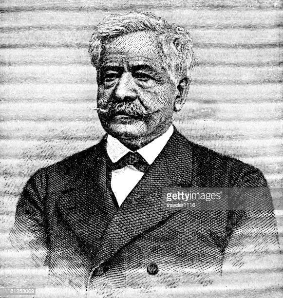 ferdinand de lesseps - developer of the suez canal - suez canal stock illustrations