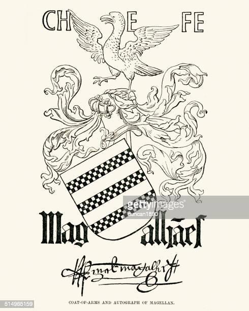 ferdinand magellan - traditionally portuguese stock illustrations