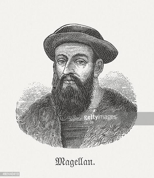 ferdinand magellan (1480-1521), portuguese navigator, wood engraving, published in 1881 - fine art portrait stock illustrations