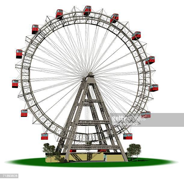 ferris wheel with red cars, front view. - ferris wheel stock illustrations, clip art, cartoons, & icons