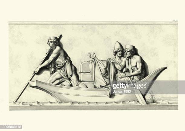 ferryman carrying passenger and cargo across river, ancient persia - bas relief stock illustrations