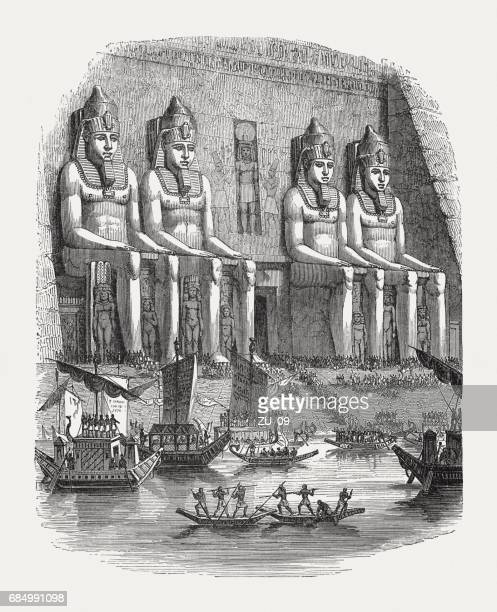 festival on the nile river in ancient egypt, published 1880 - north african ethnicity stock illustrations, clip art, cartoons, & icons