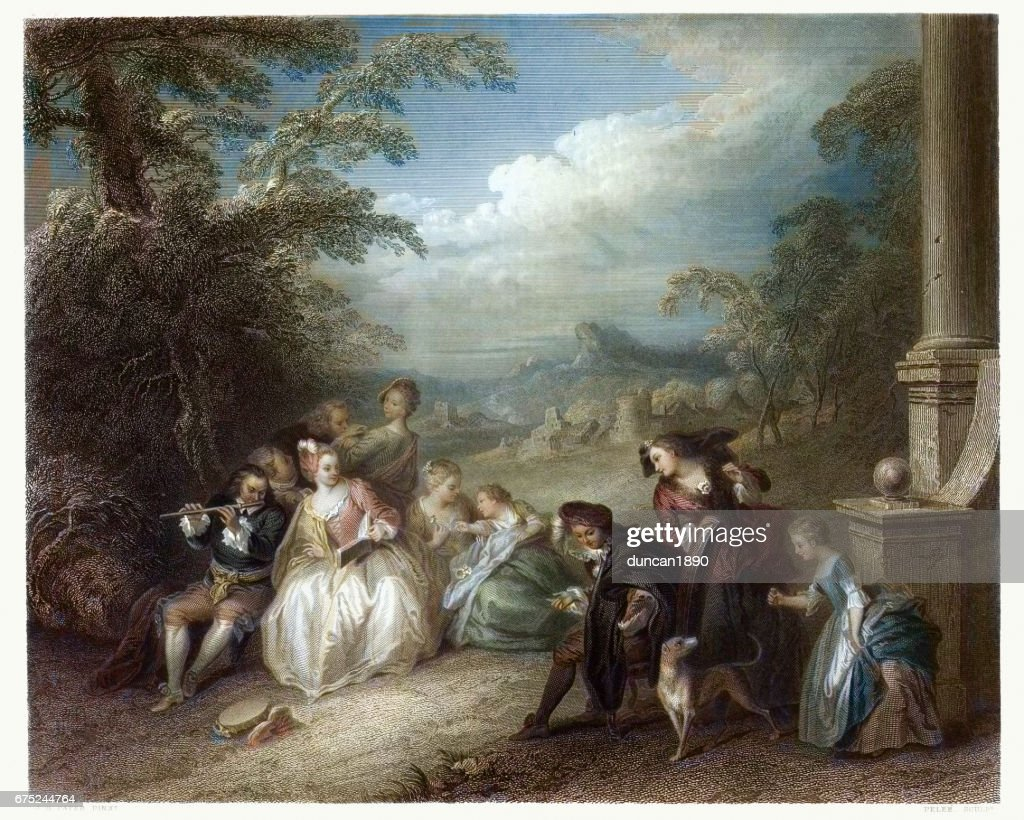 Fete Champetre with a Flute Player c.1720 : Stock Illustration