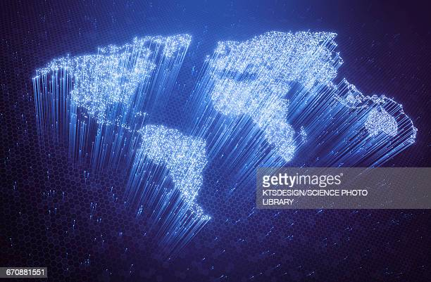 fibre optic world map, illustration - fiber stock illustrations, clip art, cartoons, & icons