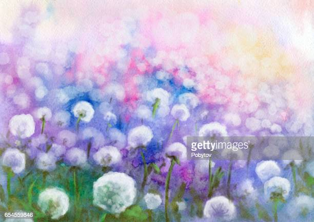 Field of dandelions, watercolor painting