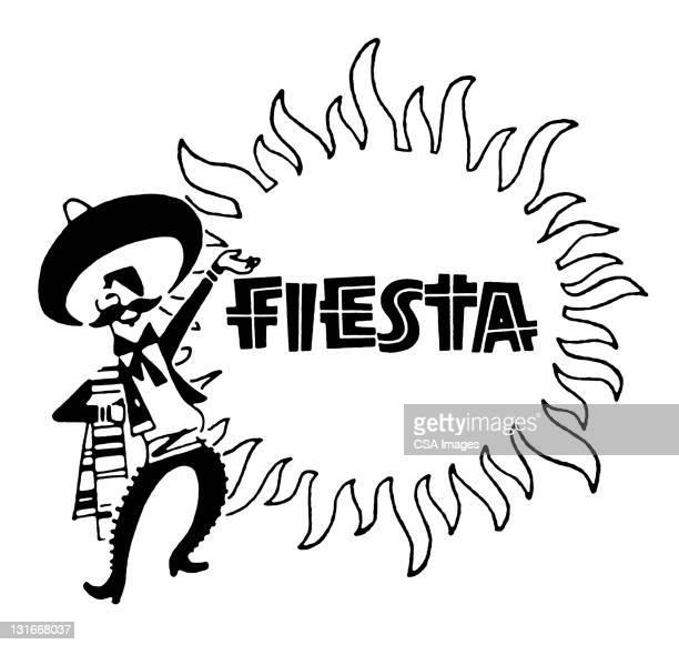 fiesta sun and man - sombrero stock illustrations