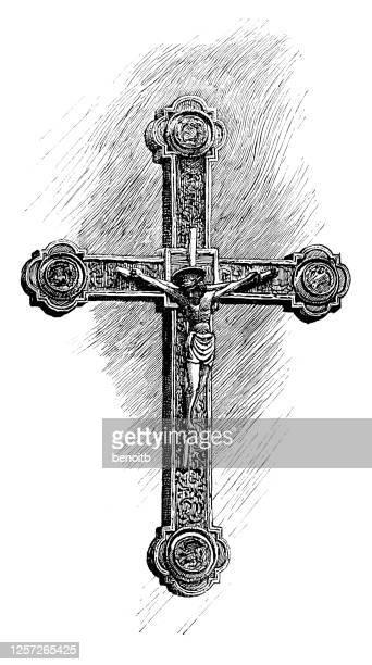 fifteenth century cross - religious symbol stock illustrations