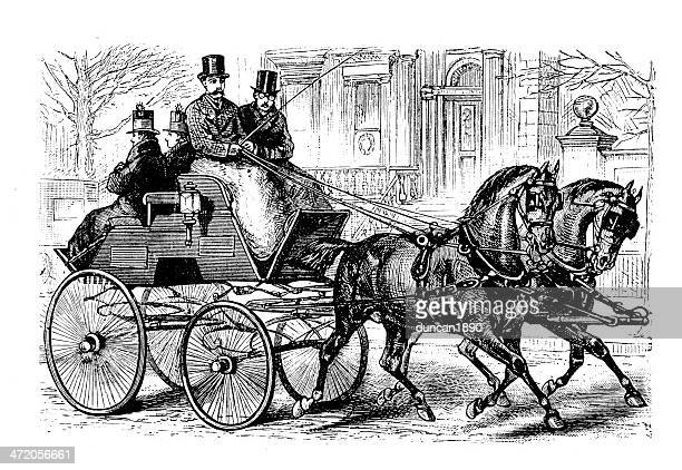 fifth avenue turn out - horsedrawn stock illustrations, clip art, cartoons, & icons