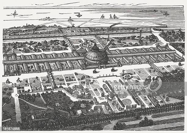 fifth world exhibition in vienna, 1873, bird's eye view - great exhibition stock illustrations, clip art, cartoons, & icons