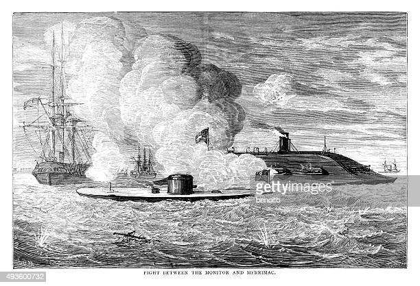 fight between the monitor and merrimac - us navy stock illustrations, clip art, cartoons, & icons