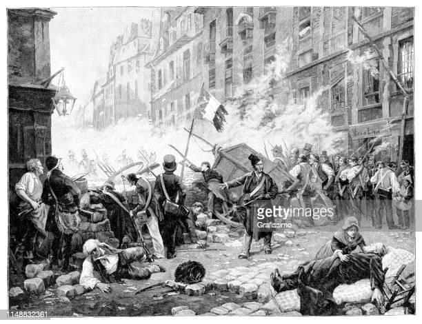 fight civil war in the streets of paris 1830 - revolution stock illustrations